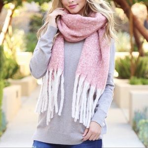 Pink and White Soft Fall Scarf